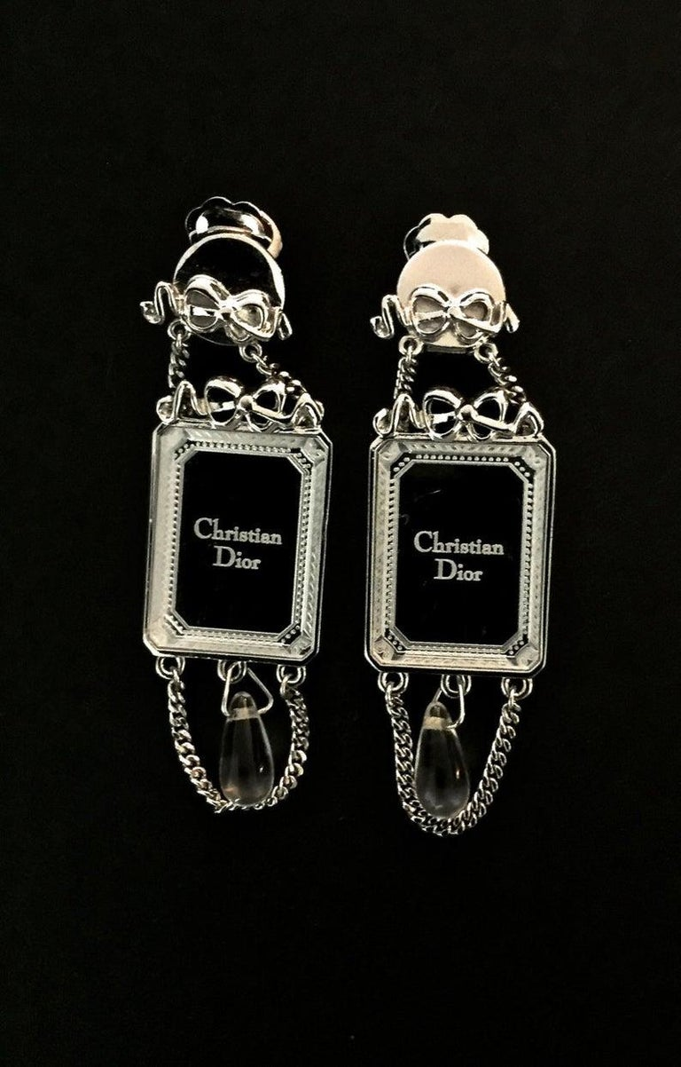 Women's Vintage CHRISTIAN DIOR Iconic French Bow Mirror Drop Earrings For Sale