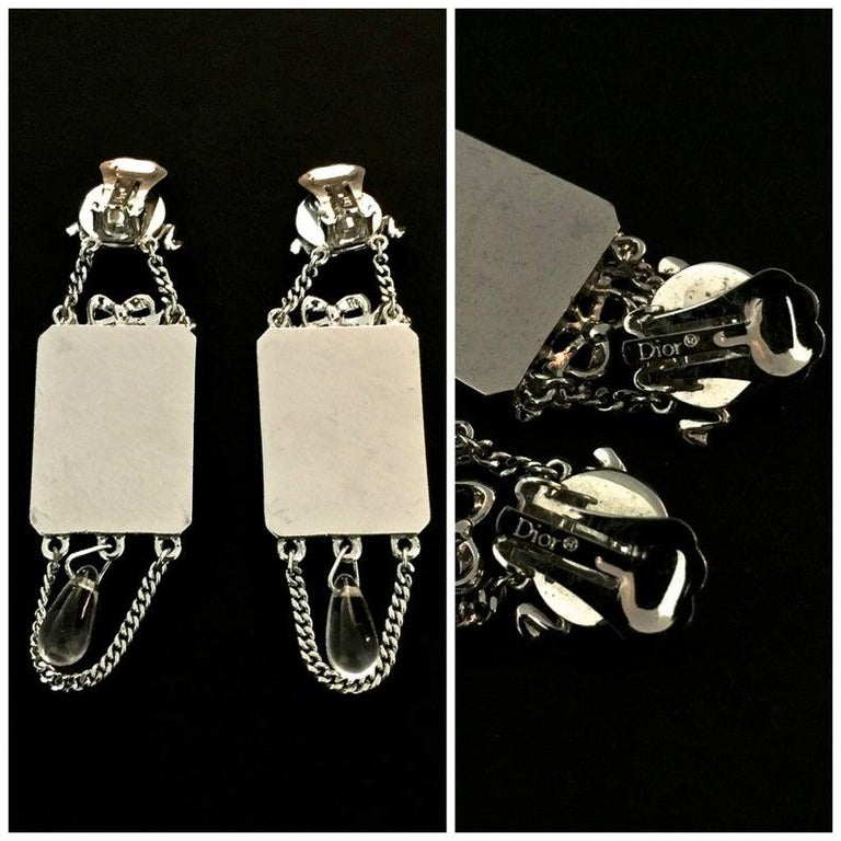 Vintage CHRISTIAN DIOR Iconic French Bow Mirror Drop Earrings For Sale 2