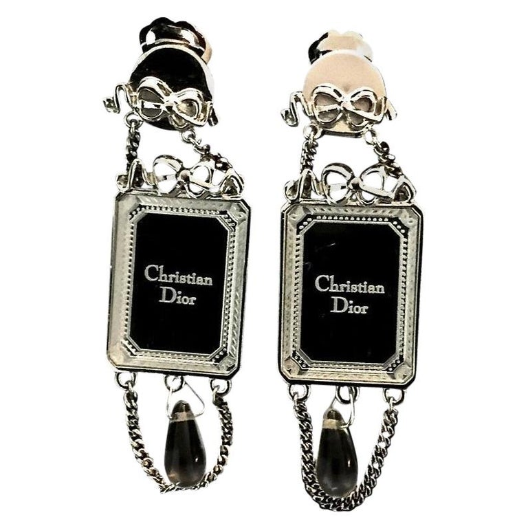 Vintage CHRISTIAN DIOR Iconic French Bow Mirror Drop Earrings For Sale