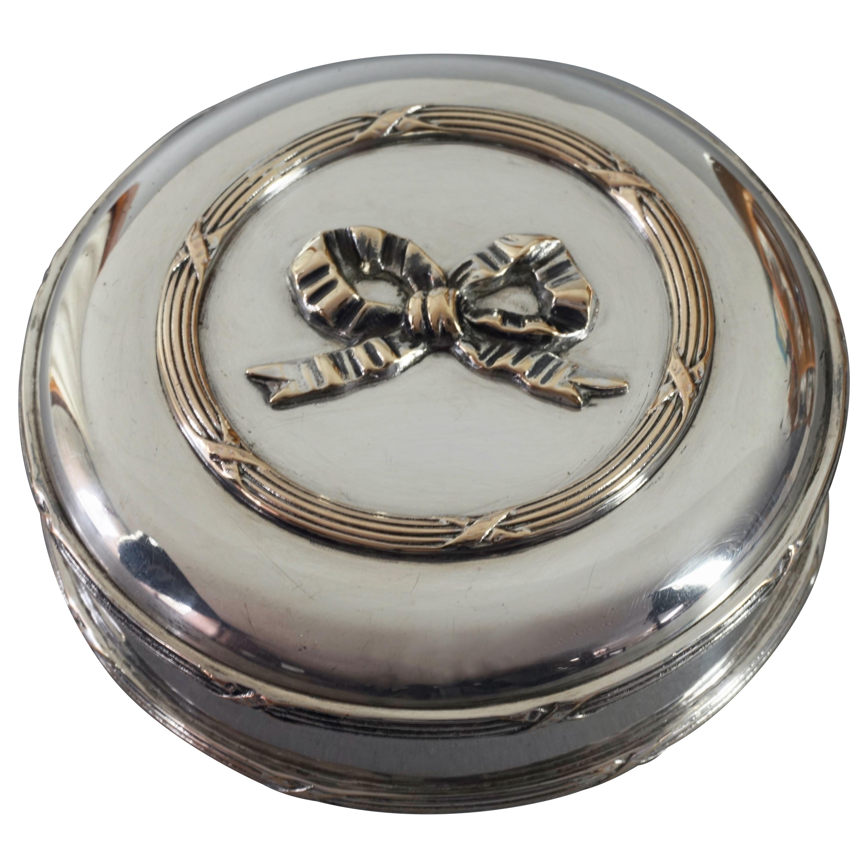 Vintage CHRISTIAN DIOR Iconic French Ribbon Round Silver Box