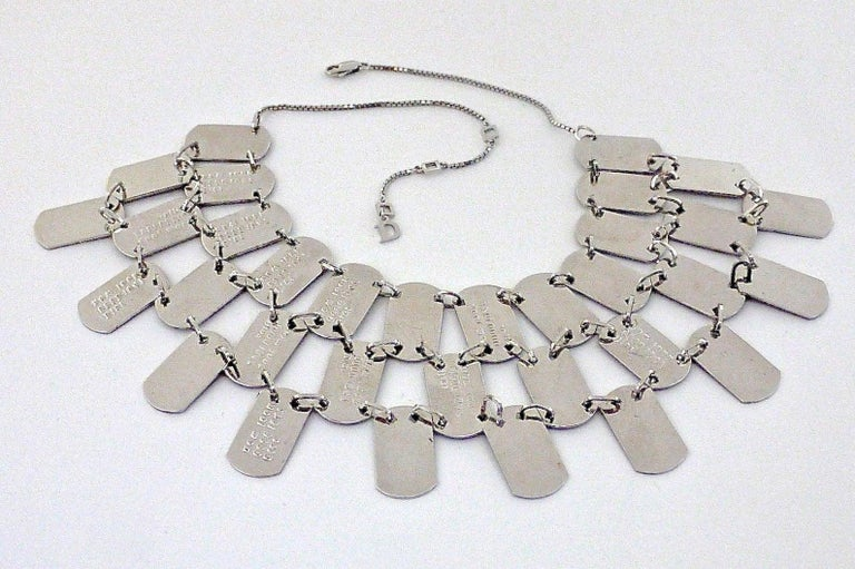 Vintage CHRISTIAN DIOR ID Name Plate Tiered Cleopatra Necklace For Sale 4