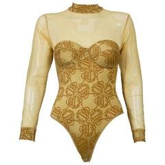Vintage CHRISTIAN DIOR Insignia Monogram Yellow Bodysuit