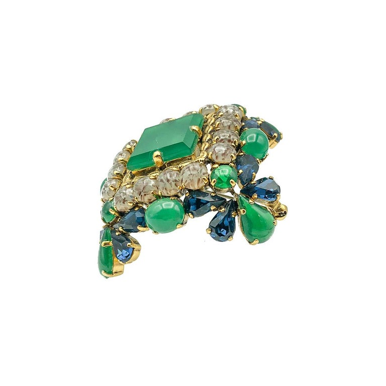 Vintage Christian Dior Jade Sapphire & Agate Glass Statement Brooch 1964 In Good Condition In Wilmslow, GB
