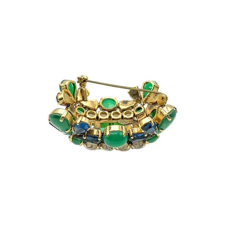 Women's or Men's Vintage Christian Dior Jade Sapphire & Agate Glass Statement Brooch 1964