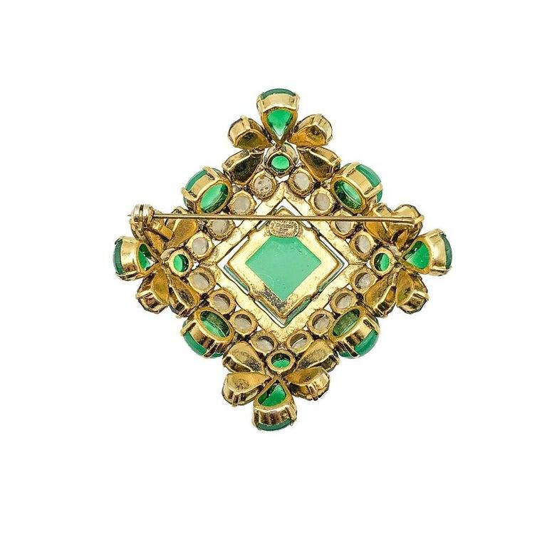 Vintage Christian Dior Jade Sapphire & Agate Glass Statement Brooch 1964 1