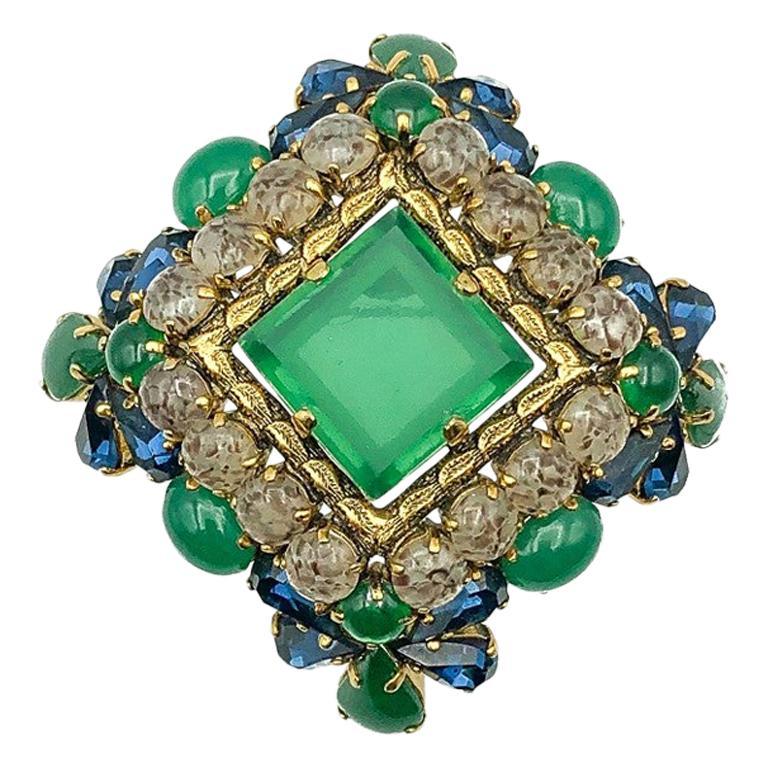 Vintage Christian Dior Jade Sapphire & Agate Glass Statement Brooch 1964