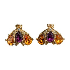 Vintage CHRISTIAN DIOR Jewelled Bumble Bee Earrings