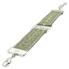 Vintage Christian Dior Khaki Logo Strap Bracelet 1990s