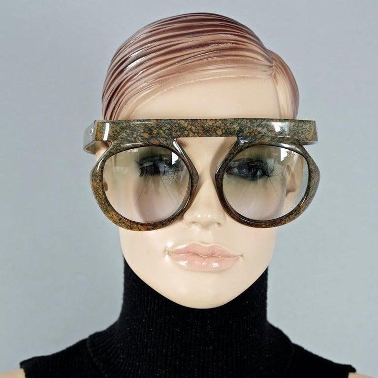 Vintage CHRISTIAN DIOR Lady Gaga Oversized Space Age Sunglasses  Measurements: Vertical Height: 3.18 inches (8.1 cm) Horizontal Width: 5.9 inches  (15 cm) Temple Length: 5.23 inches  (13.3 cm)  As seen on Lady Gaga.  Features: - 100% Authentic