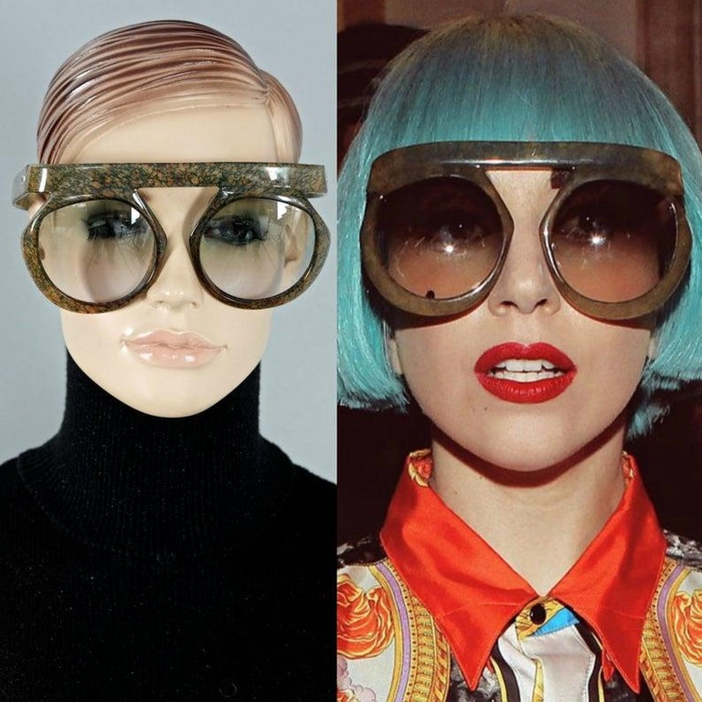 Women's Vintage CHRISTIAN DIOR Lady Gaga Oversized Space Age Sunglasses For Sale