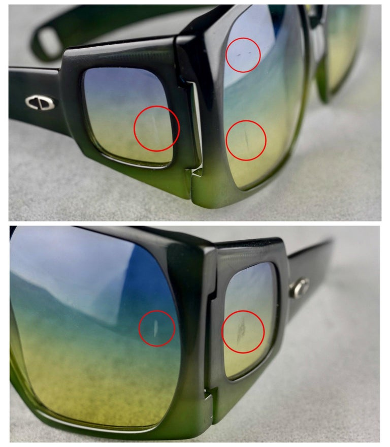 Vintage CHRISTIAN DIOR Lady Gaga Square Side Lenses Oversized Space Age Sunglass For Sale 6