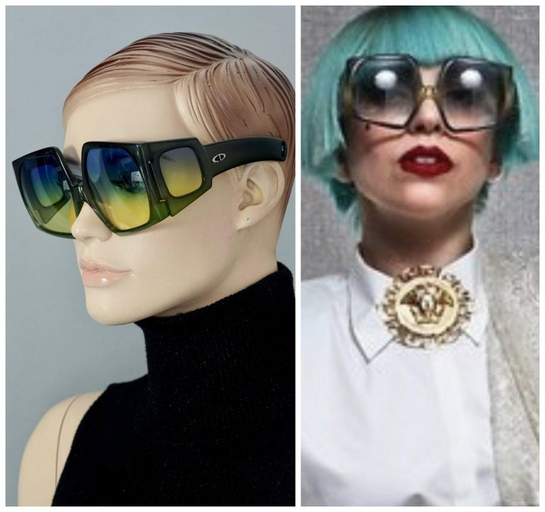 Vintage CHRISTIAN DIOR Lady Gaga Square Side Lenses Oversized Space Age Sunglasses  Measurements: Height: 2.67 inches (6,8 cm) Horizontal Width: 5.66 inches (14.4 cm) Temple Length: 5.11 inches (13 cm)  Features: - 100% Authentic CHRISTIAN DIOR. -