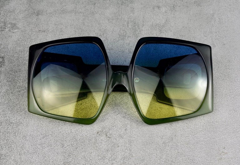 Vintage CHRISTIAN DIOR Lady Gaga Square Side Lenses Oversized Space Age Sunglass For Sale 1