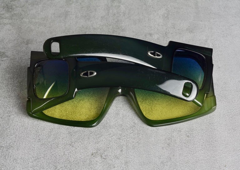 Vintage CHRISTIAN DIOR Lady Gaga Square Side Lenses Oversized Space Age Sunglass For Sale 2