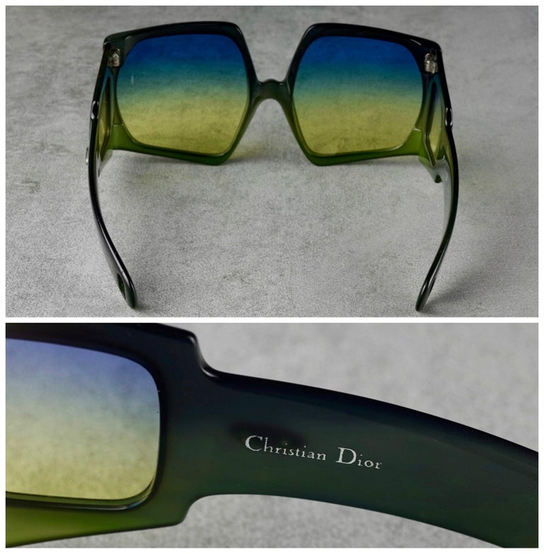 Vintage CHRISTIAN DIOR Lady Gaga Square Side Lenses Oversized Space Age Sunglass For Sale 3