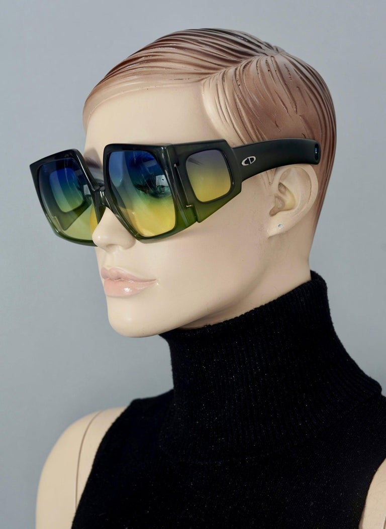 Vintage CHRISTIAN DIOR Lady Gaga Square Side Lenses Oversized Space Age Sunglass For Sale 4