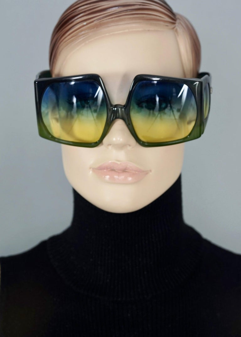 Vintage CHRISTIAN DIOR Lady Gaga Square Side Lenses Oversized Space Age Sunglass For Sale 5