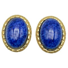Vintage Christian Dior Lapis Blue Earrings 1980s