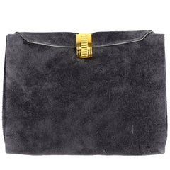 Vintage Christian Dior Leather & Gray Suede Clutch Bag With Gold Clasp & Box