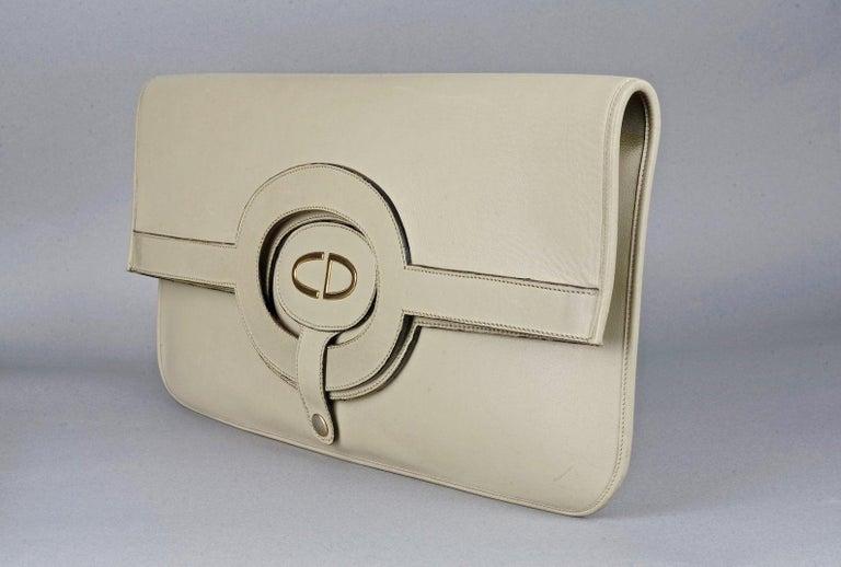 Vintage CHRISTIAN DIOR Logo Foldable Envelope Leather Clutch Bag For Sale 1