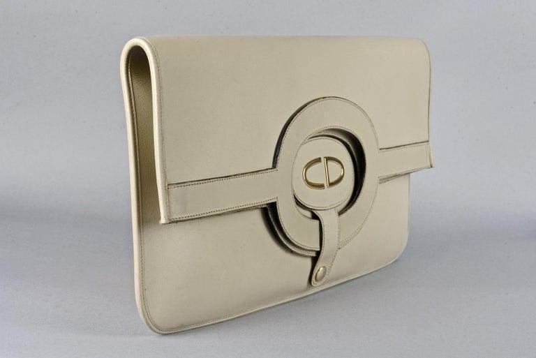 Vintage CHRISTIAN DIOR Logo Foldable Envelope Leather Clutch Bag For Sale 2