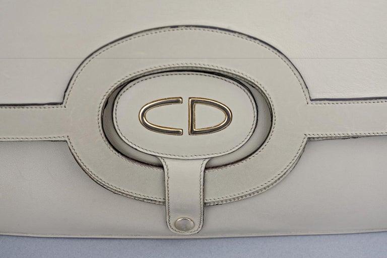 Vintage CHRISTIAN DIOR Logo Foldable Envelope Leather Clutch Bag For Sale 3