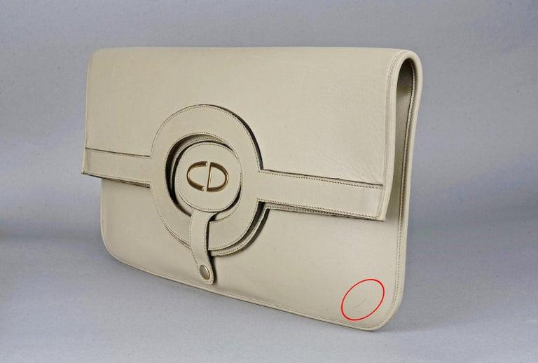 Vintage CHRISTIAN DIOR Logo Foldable Envelope Leather Clutch Bag For Sale 5