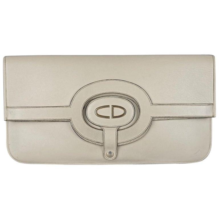 Vintage CHRISTIAN DIOR Logo Foldable Envelope Leather Clutch Bag For Sale
