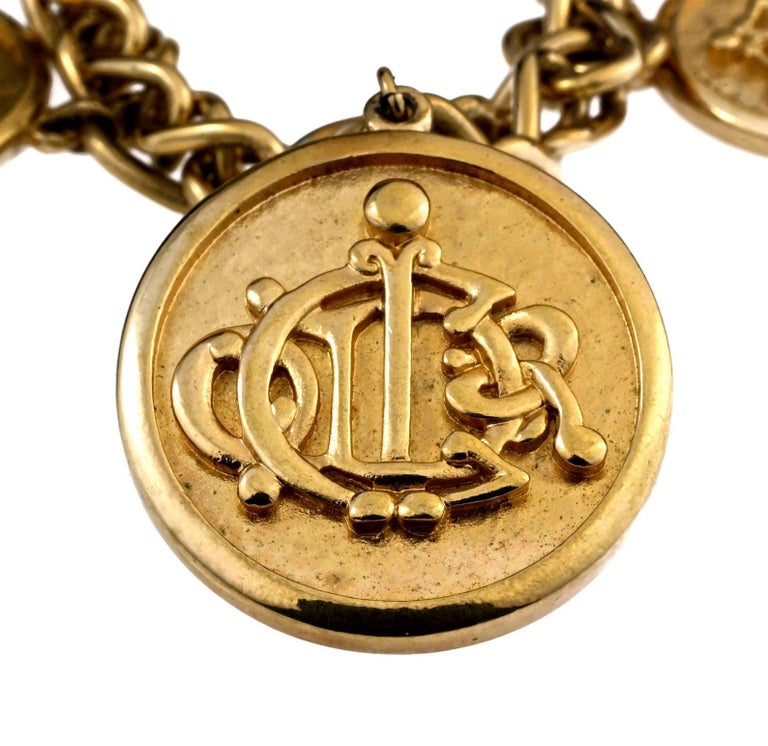 Vintage CHRISTIAN DIOR Logo Insignia Medallion Charm Necklace For Sale 3