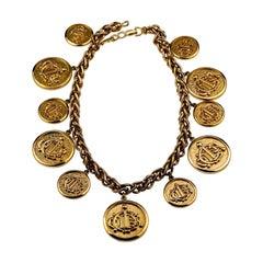 Vintage CHRISTIAN DIOR Logo Insignia Medallion Charm Necklace