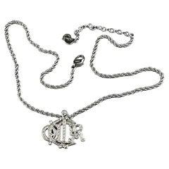 Vintage CHRISTIAN DIOR Logo Insignia Rhinestone Silver Necklace