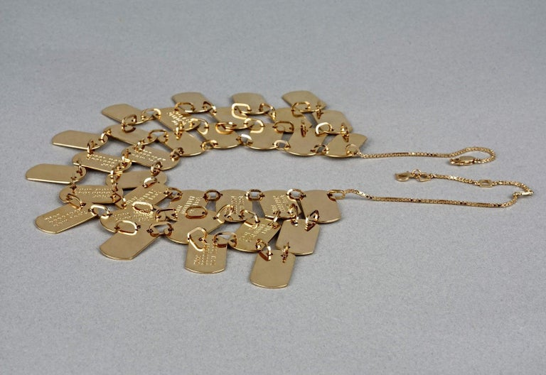 Vintage CHRISTIAN DIOR Logo Name Plate Multi Strand Necklace In Excellent Condition For Sale In Kingersheim, Alsace