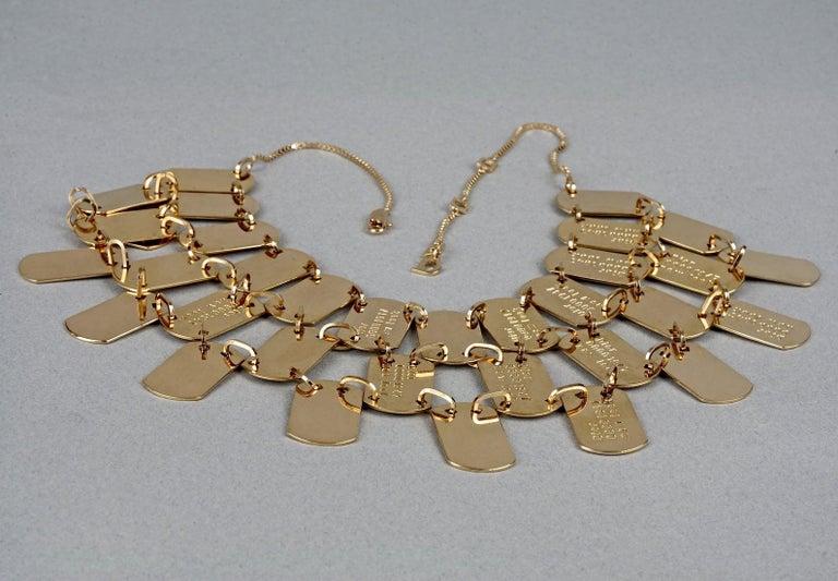 Vintage CHRISTIAN DIOR Logo Name Plate Multi Strand Necklace For Sale 3