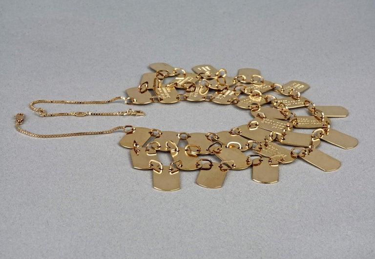 Vintage CHRISTIAN DIOR Logo Name Plate Multi Strand Necklace For Sale 4