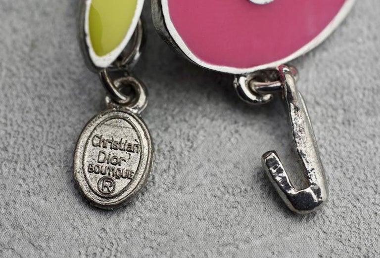 Vintage CHRISTIAN DIOR Logo Pop Enamel Apple Necklace For Sale 3
