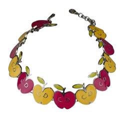 Vintage CHRISTIAN DIOR Logo Pop Enamel Apple Necklace