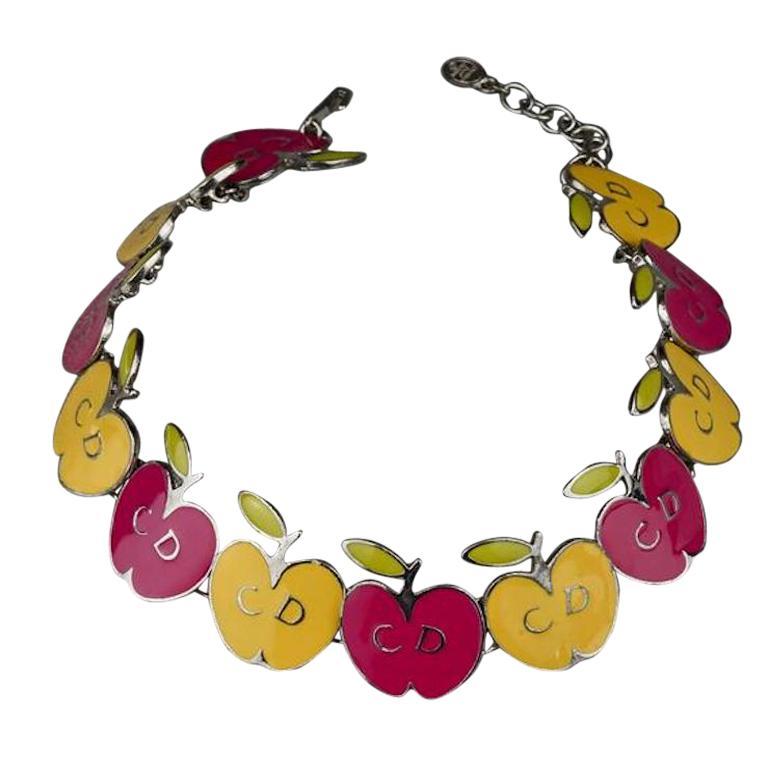 Vintage CHRISTIAN DIOR Logo Pop Enamel Apple Necklace For Sale