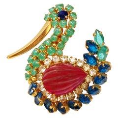 "Vintage Christian Dior ""Look of Fine Jewelry"" Rhinestone Swan Brooch, 1970"