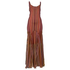 Vintage Christian Dior Mauve Blanket Stripe Print Slip Dress