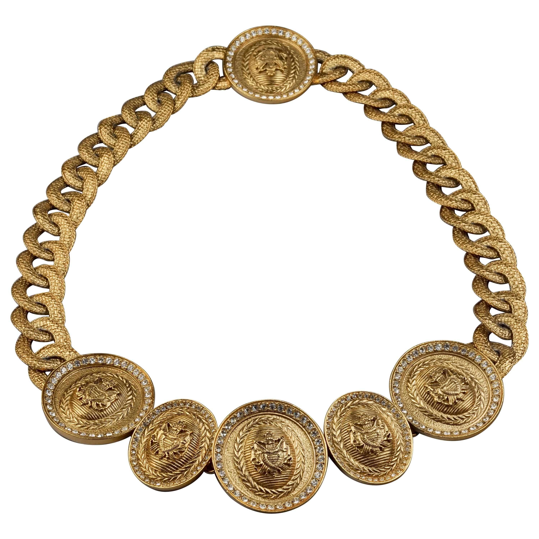 Vintage CHRISTIAN DIOR Medallion Crest Chunky Chain Necklace Belt