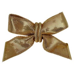 Vintage Christian Dior Mesh Star Print Bow Pin Brooch 1964