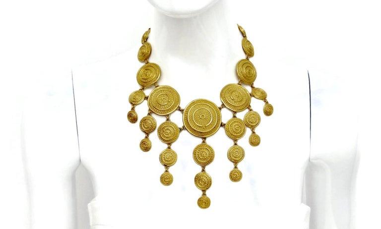 Vintage Christian Dior Mogul Braided Disc Logo Necklace For Sale 1