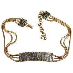 Vintage CHRISTIAN DIOR Monogram Logo Enamel ID Plate Multi Chain Necklace