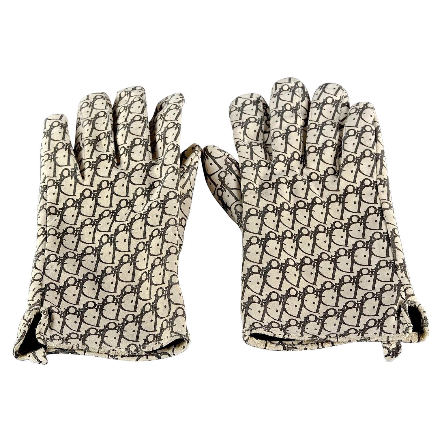 Vintage CHRISTIAN DIOR Monogram Logo Leather Gloves