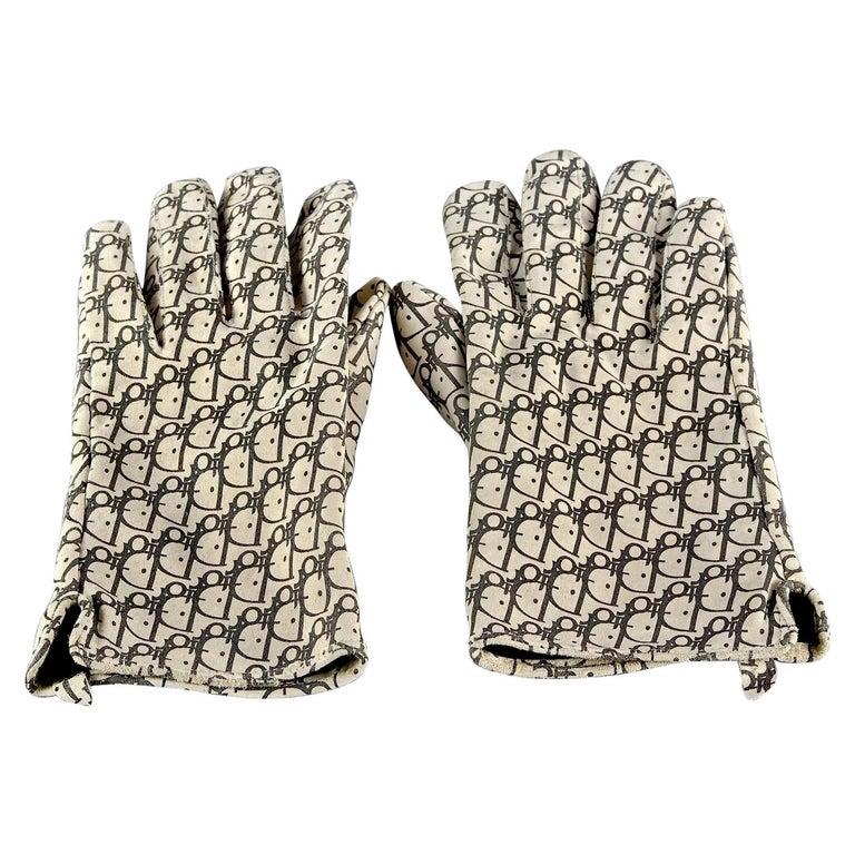 Vintage CHRISTIAN DIOR Monogram Logo Leather Gloves For Sale
