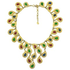 Vintage Christian Dior Mughal Inspired Statement Jewelled Bib Necklace 1980s