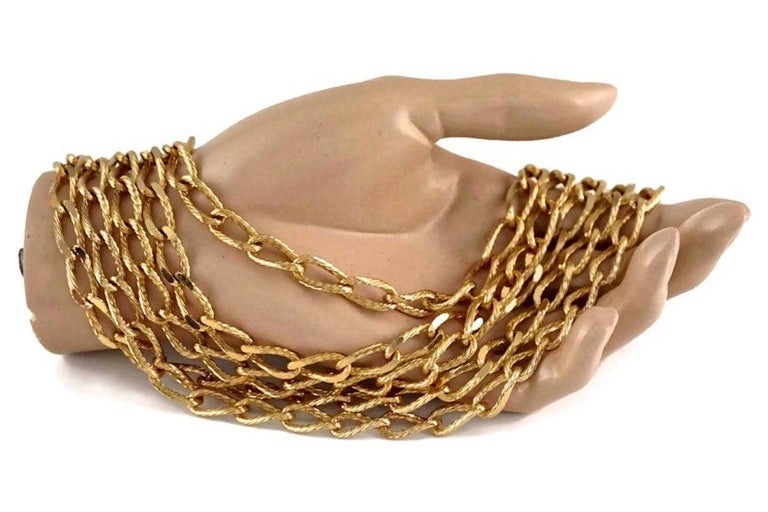 Vintage CHRISTIAN DIOR Multi Strand Chain Necklace 3