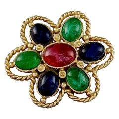 Vintage CHRISTIAN DIOR Multicolour Glass Cabochon Gripoix Flower Brooch