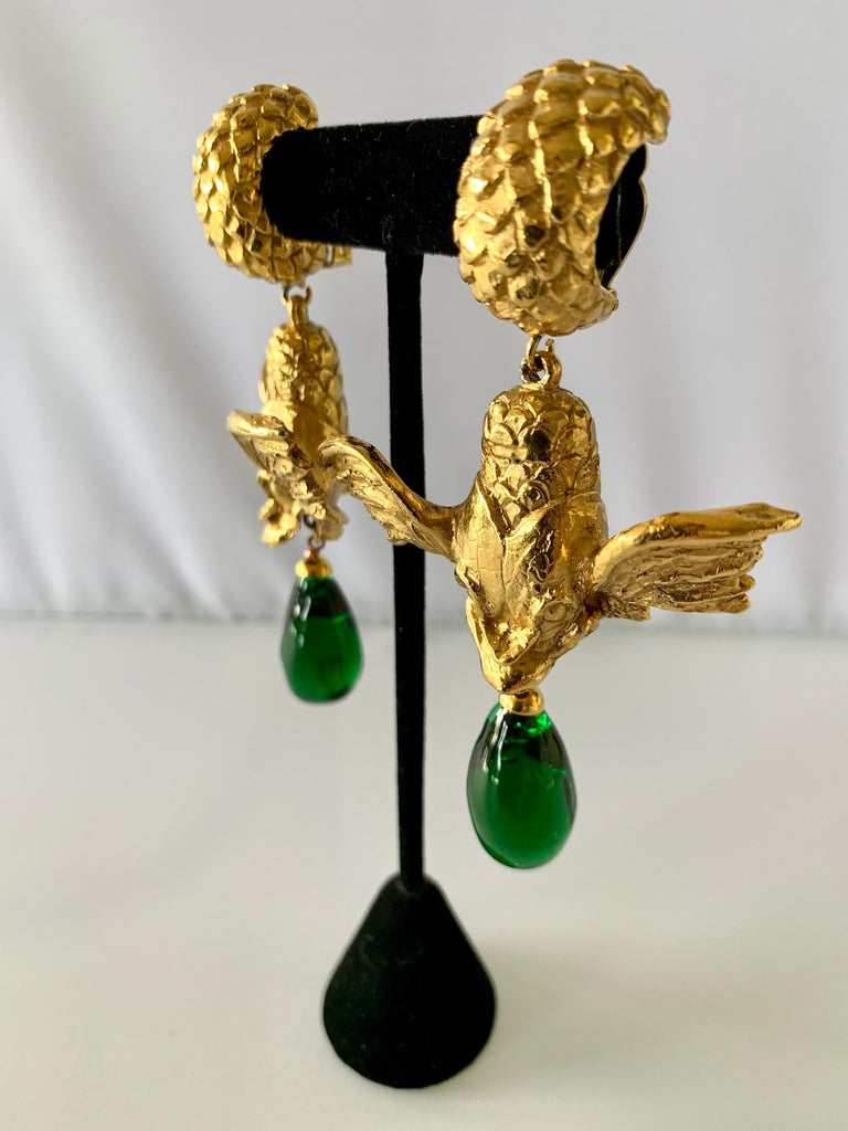 Baroque Vintage Christian Dior Mythical Fish Gilt Earrings  For Sale