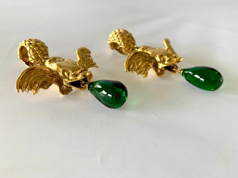 Vintage Christian Dior Mythical Fish Gilt Earrings  In Excellent Condition For Sale In Palm Springs, CA